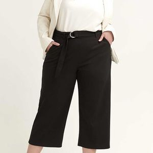 LOVE & LEGEND   4X   Black Belted Wide Leg Pants
